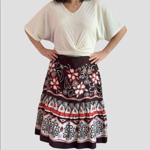 Neiman Marcus brown red sequins silk skirt